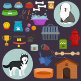 Dog icons flat set with dung kennel leash food bowl. Isolated vector illustration Stock Photo