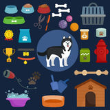 Dog icons flat set with dung kennel leash food bowl. Vector illustration Royalty Free Stock Photos
