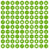 100 dog icons hexagon green. 100 dog icons set in green hexagon isolated vector illustration Royalty Free Stock Photo