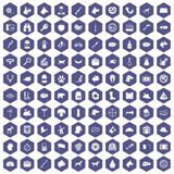 100 dog icons hexagon purple Stock Image