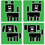 Dog icons isolated on a green Stock Photography