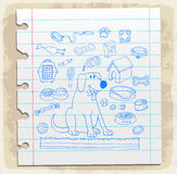 Dog icons on paper note, vector illustration Royalty Free Stock Photo