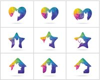 Dog logos set, pet and animal health and care hospital  icons, low poly dogs in medical cross, star and home illustration. Dog  icons, pet care logos Royalty Free Stock Image