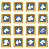 Dog icons set blue Royalty Free Stock Image