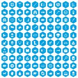 100 dog icons set blue. 100 dog icons set in blue hexagon isolated vector illustration vector illustration