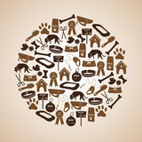 Dog icons set in circle Royalty Free Stock Photo