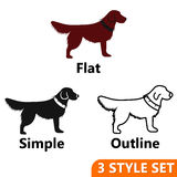 Dog icons set. In flat, simple and outline style isolated on white background. Animals symbol vector illustration Royalty Free Stock Photography