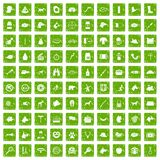 100 dog icons set grunge green. 100 dog icons set in grunge style green color isolated on white background vector illustration Stock Illustration