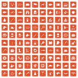 100 dog icons set grunge orange. 100 dog icons set in grunge style orange color isolated on white background vector illustration vector illustration