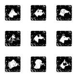 Dog icons set, grunge style Royalty Free Stock Photography