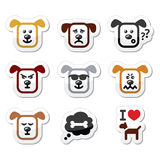 Dog icons set - happy, sad, angry isolated on white Royalty Free Stock Image