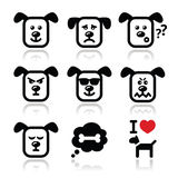 Dog icons set - happy, sad, angry  on white Royalty Free Stock Photos