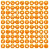 100 dog icons set orange. 100 dog icons set in orange circle isolated on white vector illustration vector illustration