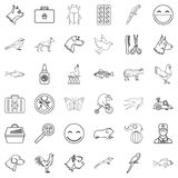 Dog icons set, outline style. Dog icons set. Outline style of 36 dog vector icons for web isolated on white background Royalty Free Stock Images