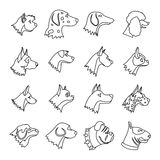 Dog Icons set, outline style. Dog Icons set in outline style isolated on white background Stock Photos