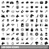 100 dog icons set, simple style. 100 dog icons set in simple style for any design vector illustration Stock Photography