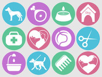 Dog icons set for web. What dogs need. Dog icons set for web, mobile application design. Pet animal silhouette and what dogs need. Vector illustration in flat Royalty Free Stock Photos