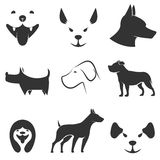 Dog icons. Vector set of dog icons. Label,logo anmd badges design template Royalty Free Stock Photos