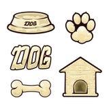 Dog icons. On white background, dog supplies, set of icons on a dog theme, illustration Royalty Free Stock Photos