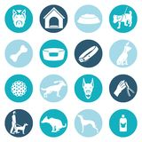 Dog icons white. Set with ball puppy shampoo bowl isolated vector illustration Stock Illustration