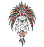 Dog in the Indian roach. Indian feather headdress of eagle. Hand draw vector  illustration Royalty Free Stock Image