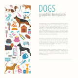 Dog info graphic template. Heatlh care, vet, nutrition, exhibiti Royalty Free Stock Photo