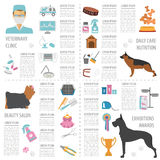 Dog info graphic template. Heatlh care, vet, nutrition, exhibition. Vector illustration royalty free illustration