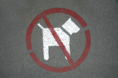 dog inget tecken Hundstoppsymbolen i staden parkerar Arkivbild