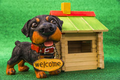 Dog with the inscription Welcome Royalty Free Stock Photo