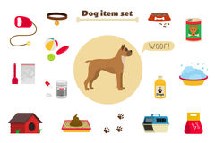 Dog items set care object and stuff. Elements around the dog. Vector cartoon illustration with food, care stuff, kennel, collar, transportation and dog walking Stock Photos