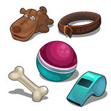 Dog and items to play with pet. Vector set Royalty Free Stock Images