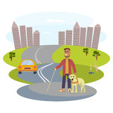 Dog and its owner vector illustration