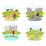 Dog and its owner set. People with Dogs set. Flat Cartoon Character of pet and his owner. Colorful Vector Illustration eps 10 Royalty Free Stock Images