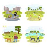 Dog and its owner set. People with Dogs set. Flat Cartoon Character of pet and his owner. Colorful Vector Illustration eps 10 Royalty Free Stock Photography