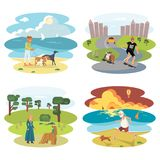 Dog and its owner set. People with Dogs set. Flat Cartoon Character of pet and his owner. Colorful Vector Illustration eps 10 Royalty Free Stock Photos