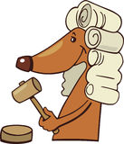 Dog judge. Cartoon illustration of cute dog in judge uniform Stock Photos