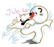 Dog jumping kiss friend Stock Photos