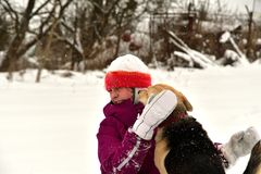 The girl is playing with the dog in the snow and gives him a kiss. The dog jumps for joy at the girl and licks her face royalty free stock images