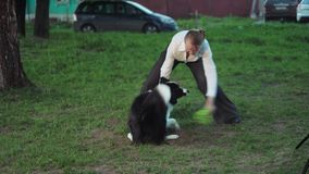 Dog jumps of woman`s back and catches frisbee, slow motion stock video