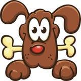Dog keeps a bone. Cartoon dog keeps a bone, vector,  on white Royalty Free Stock Photos
