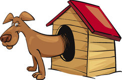 Dog in kennel. Cartoon illustration of dog in kennel Stock Photo