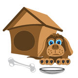 Dog and kennel Stock Photo