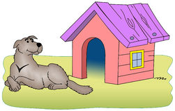 Dog beside the kennel. Vectorial illustration, dog beside the kennel. Isolated on a white background. EPS file available Stock Images
