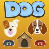 Dog, kennel, bowl, bone, set, vector illustration Stock Photos