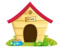 Dog Kennel. Illustration of dog kennel  with text 'home ' on a notice board, bowl of biscuits and grass and daisies surrounding it, white background Royalty Free Stock Photo