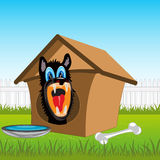 Dog in kennel. Irritating dog in kennel on rural area.Vector illustration Stock Photography