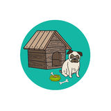 Dog kennel and mops circle icon Royalty Free Stock Images
