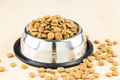 Dog Kibbles in a bowl on wooden floor Royalty Free Stock Image