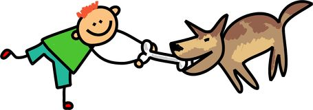 Dog Kid. Cute stick figure illustration of a happy little boy teasing his pet dog with a bone Stock Images