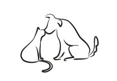 Dog Kiss Cat. Black picture with white background Royalty Free Stock Photo